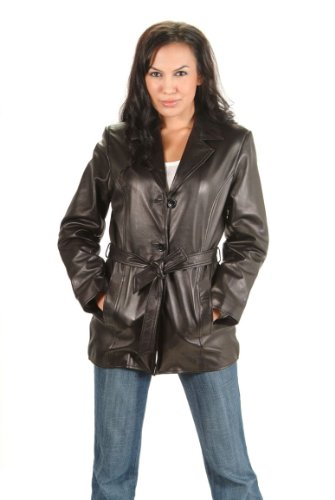 Women's Genuine Leather Jacket 3 buttons and Belted closure