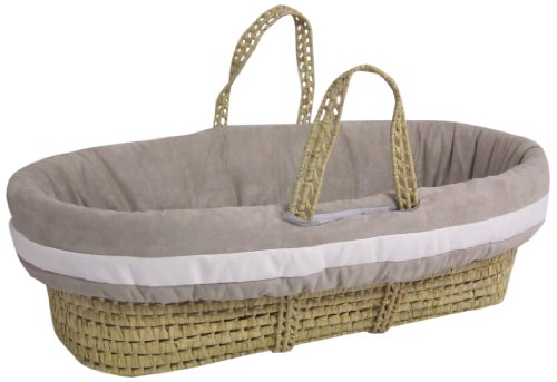 Baby Doll Bedding Zuma Moses Basket Set, Grey/White