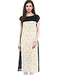 IVES Georgette Printed White Straight Regular Fit Kurti For Women
