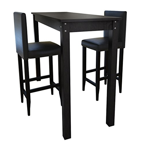 Set tavolino bar con 2 sgabelli neri