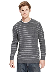2in Longer Blue Harbour Extrafine Pure Lambswool Crew Neck Striped Jumper