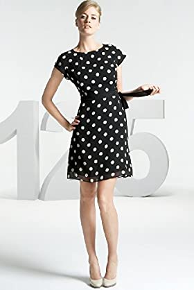 125 Years Short Sleeve Spot Print Shift Dress - Marks & Spencer :  short sleeves black and white flared skirt spencer