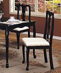 Set Of 2 Black Queen Anne Style Wood Dining Chairs Chairs