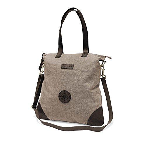 DRAKENSBERG Kimberley Legacy Shopper, borsetta, borsa shopping, grande, shopping bag unisex, tela, canvas, pelle, vintage, lussuosamente, grigio caldo, marrone scuro