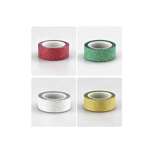 LGEGE 4 Rolls Hot Sales 5m Glitter Washi Sticky Paper Masking Adhesive Tape Label Craft Decorative (Sticky Paper Masking Tape compare prices)