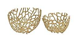 Benzara Simply Distinctive Aluminum Decorative Bowl, Set of 2