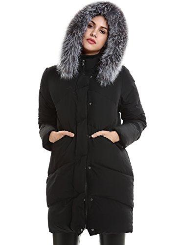 Escalier Donna Inverno giù cappotto piume d'anatra bianca con genuina pelliccia di volpe con cappuccio (X-Large, nero)