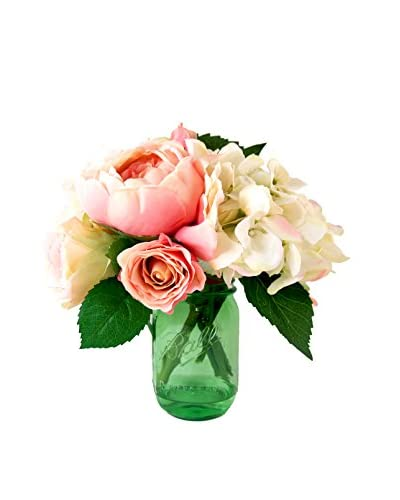 Creative Displays Mixed Garden Ball Jar Floral, Pink/Crème/Green
