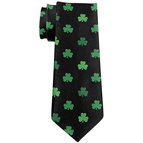 [St Patricks Day Shamrock Black All Over Neck Tie] (St Patricks Day Shamrocks)
