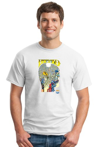 Keep On Truckin' Apparel, The Psychedelic Head, Men's Cotton T-Shirt, Art by R. Crumb-White-3X