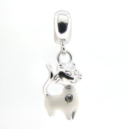 .925 Sterling Silver White Smile Kitty Cat Kitten Enamel Dangle Bead For European Charm Bracelets