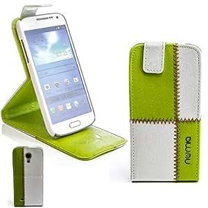 numia Design Handy Tasche Flip Style Case für Samsung i9190 i9195 Galaxy S4 SIV mini Weiss-Grün Schutz Hülle Cover Gehäuse Etui Bag Neu