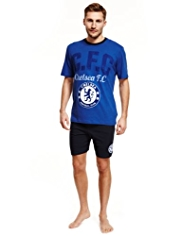 Chelsea Football Club Pure Cotton Pyjama Shorts Set