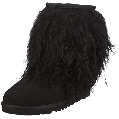 UGG Australia Women's Sheepskin Cuff Boot Casual Shoes,Black/Black,8 US