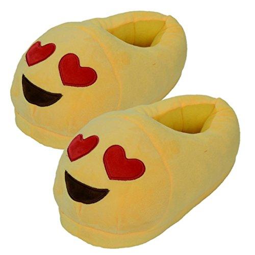 Sannysis® giocattolo sveglio emoji peluche Slipper Espressione Uomini e donne winter House Mezzo pacchetto con pantofole in lana Scarpe (C)