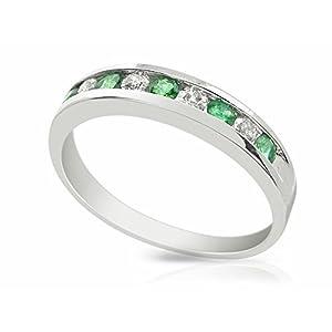 9ct White Gold 0.22ct Natural Emerald & Diamond Half Eternity Band Ring