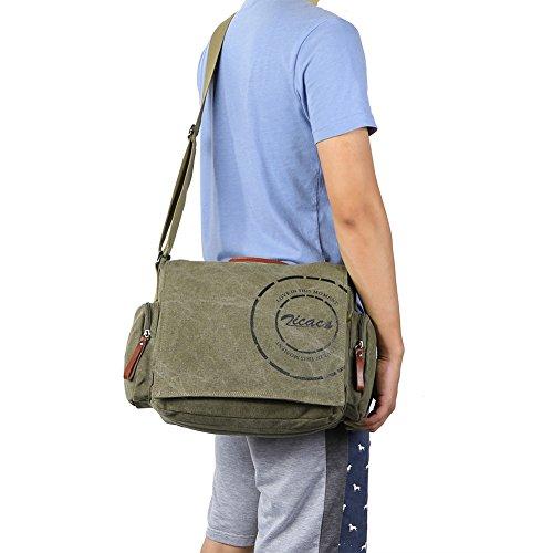 Borsa uomo-borsa a Spalla per la Scuola verde militare con tracolla