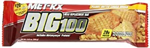 MET-Rx Big 100 Meal Replacement Bar, Peanut Butter Cookie Dough, 3.52-Ounce Bars (Pack of 12) by MetRX