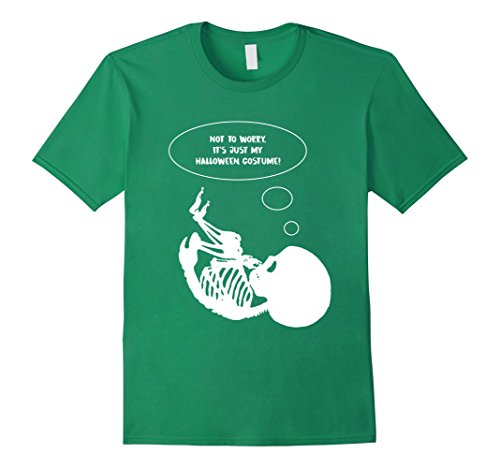 [Men's Not To Worry Its Just My Halloween Costume Skeleton Baby Tee 3XL Kelly Green] (Baby Mama Movie Costume)