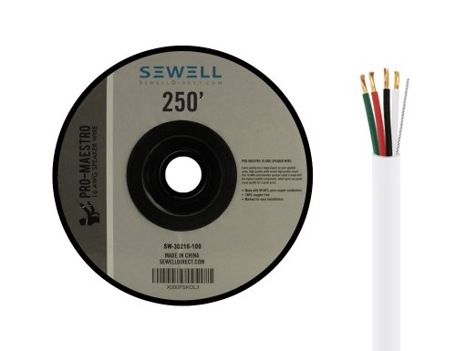 Sewell 16 Awg Speaker Wire, 4- Conductor, Cl3 Rated (For In-Wall Installation), 250 Ft