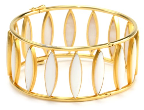 Lauren Harper Collection Over the Moon 18k Gold Mother-Of-Pearl Hinged Bangle Bracelet
