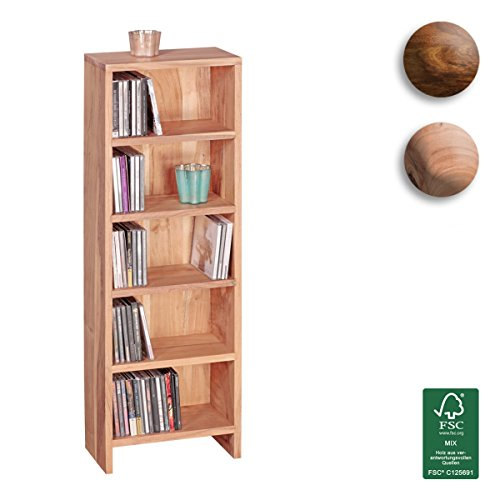 FineBuy-CD-Regal-Massivholz-Akazie-Standregal-90-cm-hoch-CD-Aufbewahrung-5-Fcher-Bcherregal-dunkel-braun-Landhaus-Stil-Design-Broregal-freistehend-4-Bden-30-cm-breit-Echt-Holz-Natur-Produkt