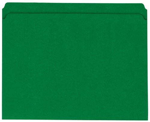 Globe-Weis Colored File Folders, Straight Cut, Reinforced Tab, Letter Size, Green, 100-Count (13110GW)