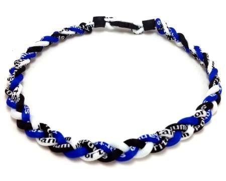 20&quot; Royal Blue Black White Titanium Sports Tornado Necklace w/ Case