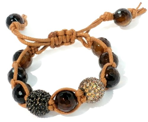 Shamballa Bracelet 14mm Black CZ Pave and 14mm Champagne CZ Pave on Genuine 12mm Faceted Dark Brown Agate Beads with Tan Cord Macrame Adjustable Unisex Handmade