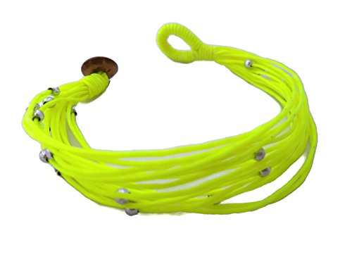 [by Angel by Angel 7 inches Striking Yellowish Greenish Color Bracelet in Multi-Layers Waxed Cord Rope With Coconut Shell] (Vegas Superstar Costumes)