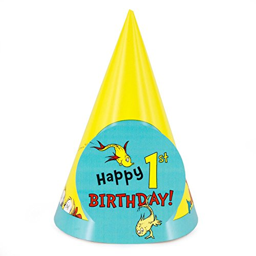 Dr. Seuss 1st Birthday Cone Hats (8)