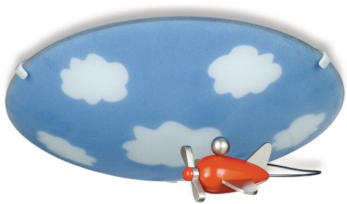Philips 30110/55/48 Kidsplace Sky Flushmount Ceiling Light With An Airplane, Multi-Colored