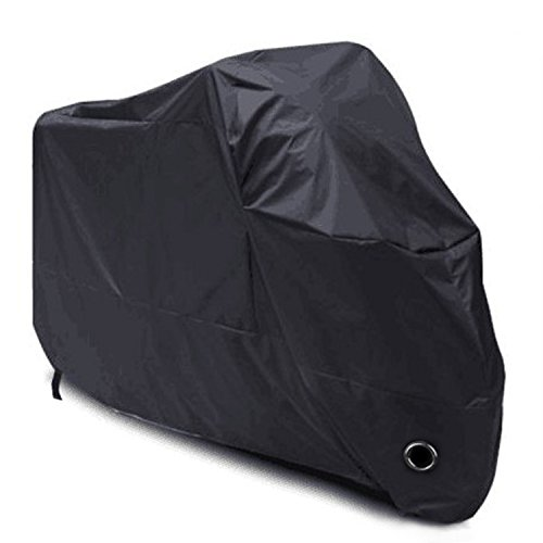 LIHAO 190T Motorcycle Cover Motorbike Cover Waterproof UV Protective - XL(Black)