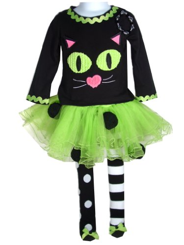 Girl's Halloween Outfit Mud Pie Cat Lime Tutu with Bracelet
