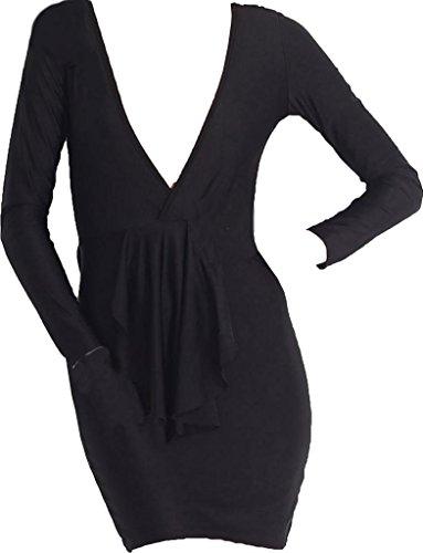 Deep V-Neck Long-Sleeved Tight Package Hip Nightclub Knee Sense Long Dress