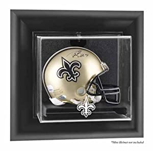 New Orleans Saints Framed Wall Mounted Logo Mini Helmet Display Case by Mounted Memories