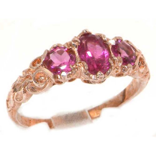 Womens Solid 9K Rose Gold Natural Pink Tourmaline English Victorian Style Trilogy Ring - Size 7.25 - Finger Sizes 4 To 12 Available - Suitable As An Anniversary Ring, Engagement Ring, Eternity Ring, Or Promise Ring