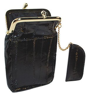 Womens Eel skin Cigarette Lighter Holder Black Wallet