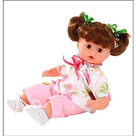 "Gotz Muffin 13"" Baby Doll, Brunette Washable Hair in Pigtails by Gotz (English Manual)"