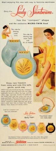 1956 Ad Lady Sunbeam Electric Razor Compact Hygiene - Original Print Ad
