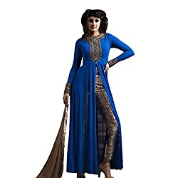 Shree Fashion Women's nakashi blue long gorgette Unstich Dress