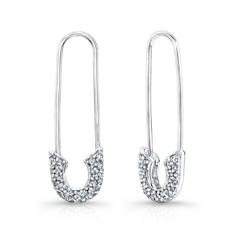 Victoria Kay 1/3ct White Diamond Safety Pin Earrings in Sterling Silver (JK, I2-I3)
