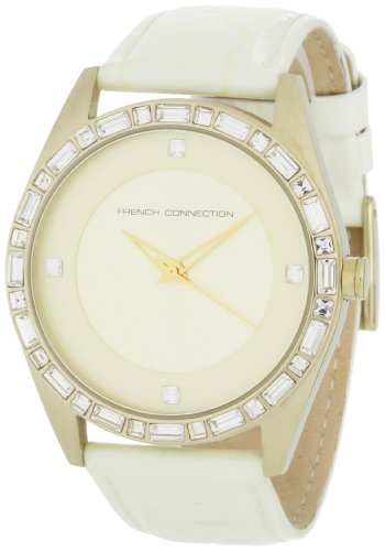 French Connection Ladies Watch FC1008GG with Gold Strap with Stone Set Dial