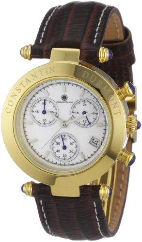 Constantin Durmont Visage - Reloj cronógrafo de mujer de cuarzo con correa de piel marrón (cronómetro) - sumergible a 30 metros