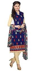 Craftliva NavyBlue & Beige Embroidery Chanderi Cotton Dress Material