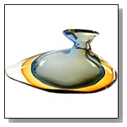 Art Glass Blue & Amber Sommerso Vase