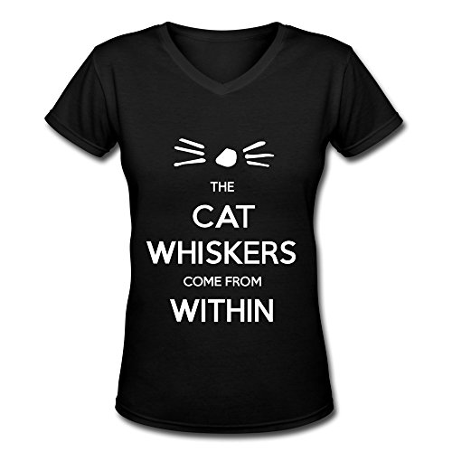JeFF Women Dan And Phil Cat Whiskers V-Neck T-shirt X-Large (US Size) (Halloween Cat Whiskers)