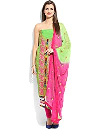 Yehii Semi Stitched Salwar Suit For Women Free Size Party Wear Dress Material Light Green | Chanderi , Cotton...