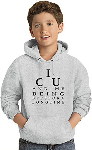 I C U I See You Funny Slogan Felpa leggera con Cappuccio per Bambini Lightweight Hoodie For Kids | 80% Cotton-20%Polyester| 14-15 yrs