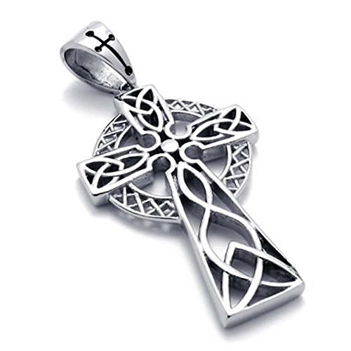 AnaZoz Fashion Jewelry Stainless Steel Men's Women's Pendant Necklace Chians Irish Knot Celtic Cross 18-26 Inch (Get Free Gems O compare prices)